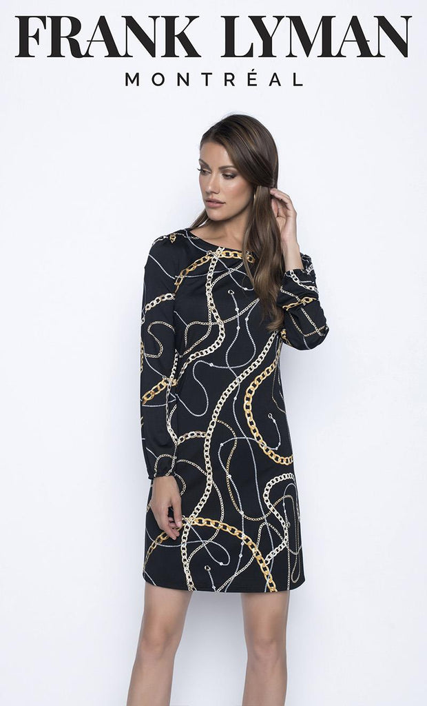 FRANK LYMAN KNIT DRESS WITH GOLD PATTERN FRONT