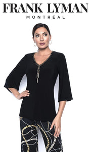 FRANK LYMAN KNIT TOP BLACK FRONT