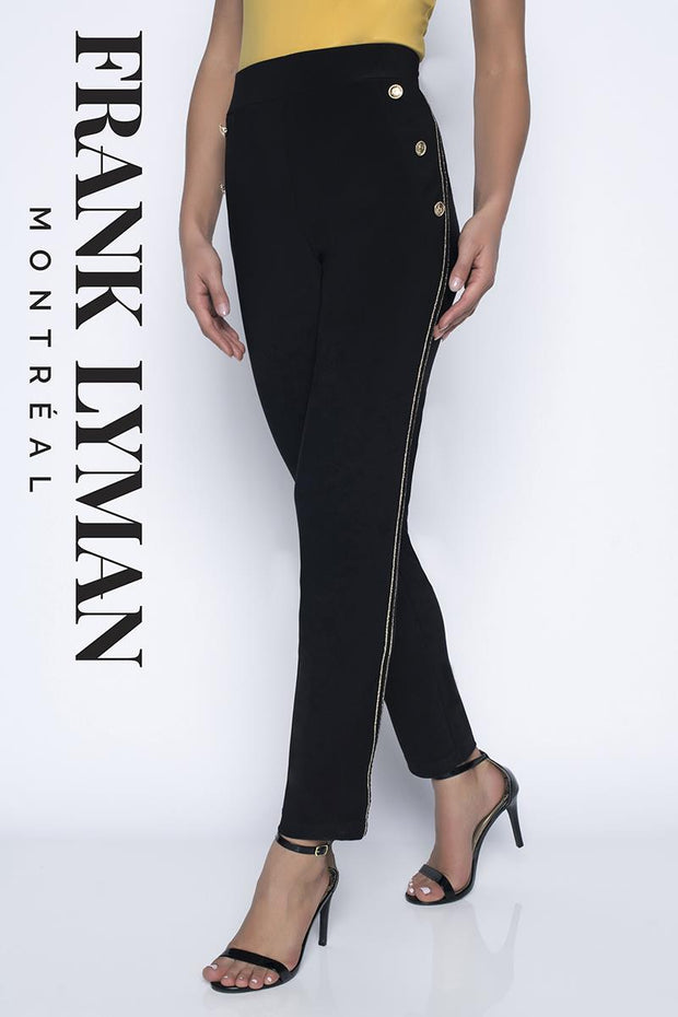 FRANK LYMAN BLACK KNIT PANT GOLD BUTTON