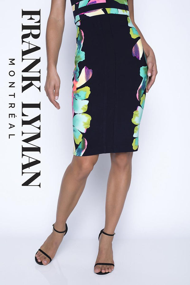 FRANK LYMAN - BLACK FLORAL PENCIL SKIRT