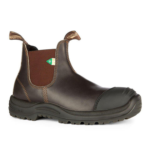BLUNDSTONE- MEN'S 167- WORK & SAFETY BOOT RUBBER TOE CAP STOUT BROWN