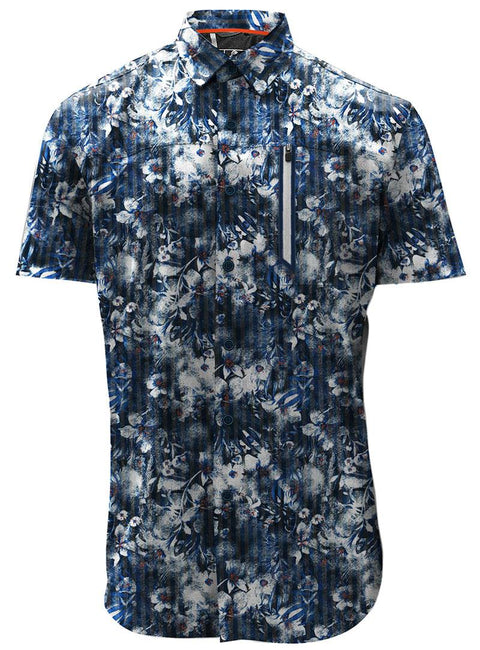 POINT ZERO - TROPICAL SHORT SLEEVE BUTTON UP