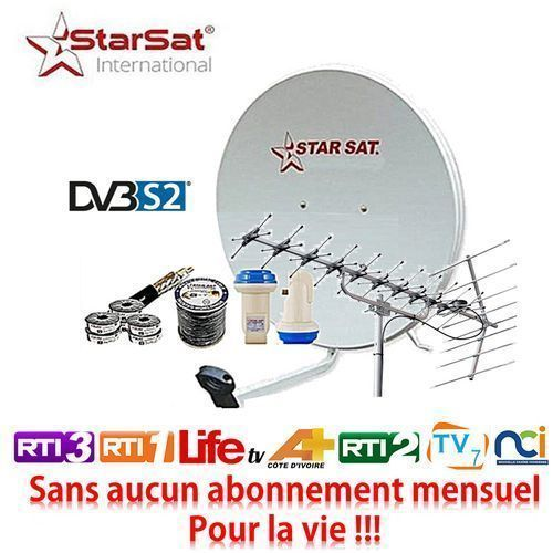 Star Sat Kit Satellite + Décodeur + Parabole + Antenne TNT + LNB Tête De Satellite + Câble TV