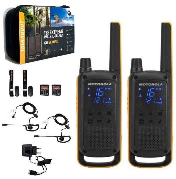 Talkie Walkie Motorola T82 Extreme Pack De 2 Talkies Walkies Robustes IPX4 + Mallette Et Accessoires