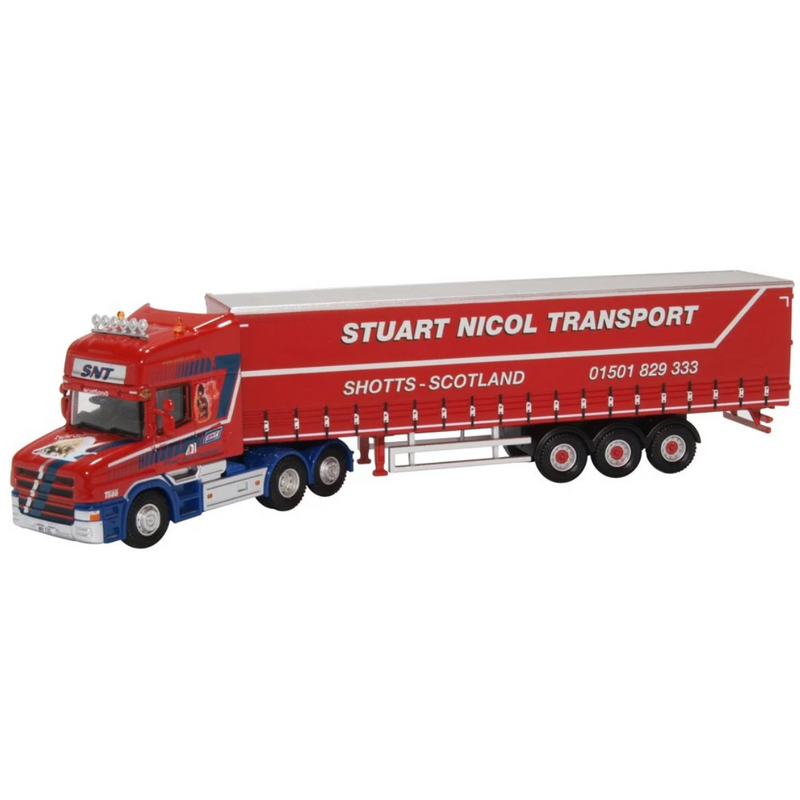 Oxford Diecast 76TCAB010 Scania T Cab Short Curtainside Stuart Nicol Transport