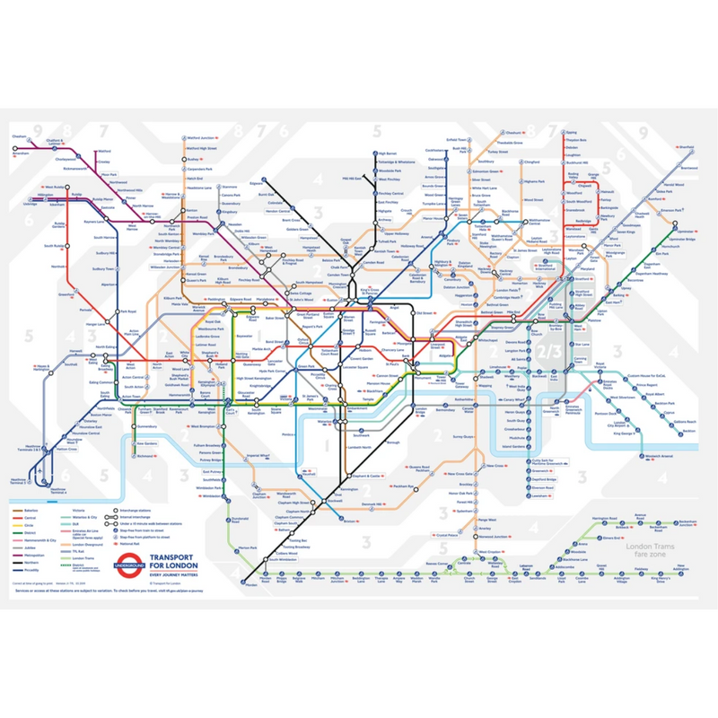 Gibsons TFL Underground Map Jigsaw Puzzle Gift Tube (250 Pieces)