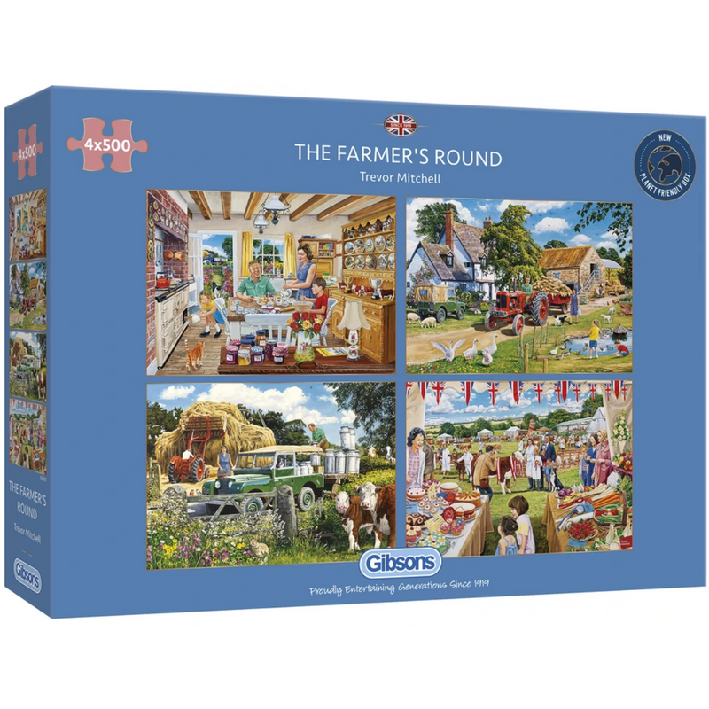 Gibsons The Farmer's Round Jigsaw Puzzle (4x 500 Pieces)