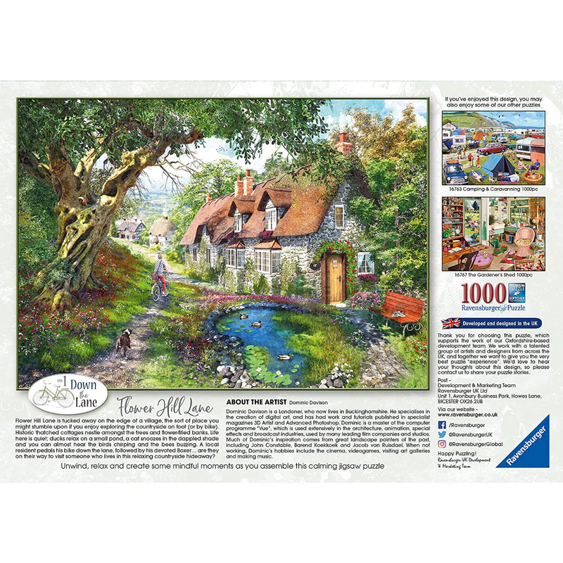 Ravensburger Down the Lane No.1, Flower Hill Lane Jigsaw Puzzle (1000 Pieces)
