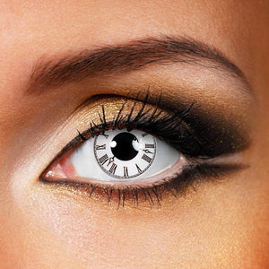 Roman Clock White Colored Contact Lenses