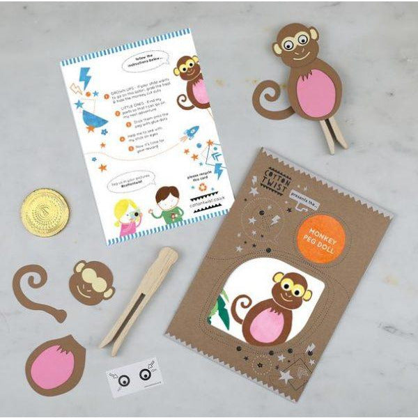 Make Your Own Monkey Peg Doll Kit - The Original Toy Shop
