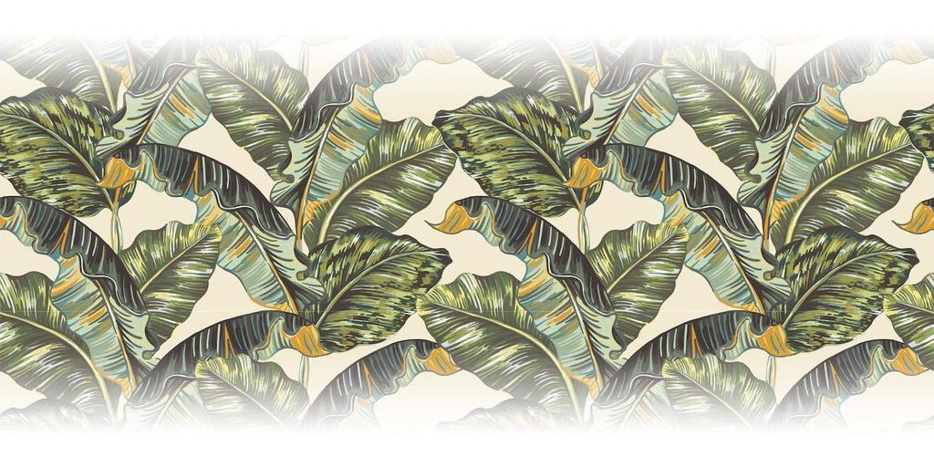 Banana Leaf Tropical Green and Cream Wallpaper Mural from WallpaperMural.com