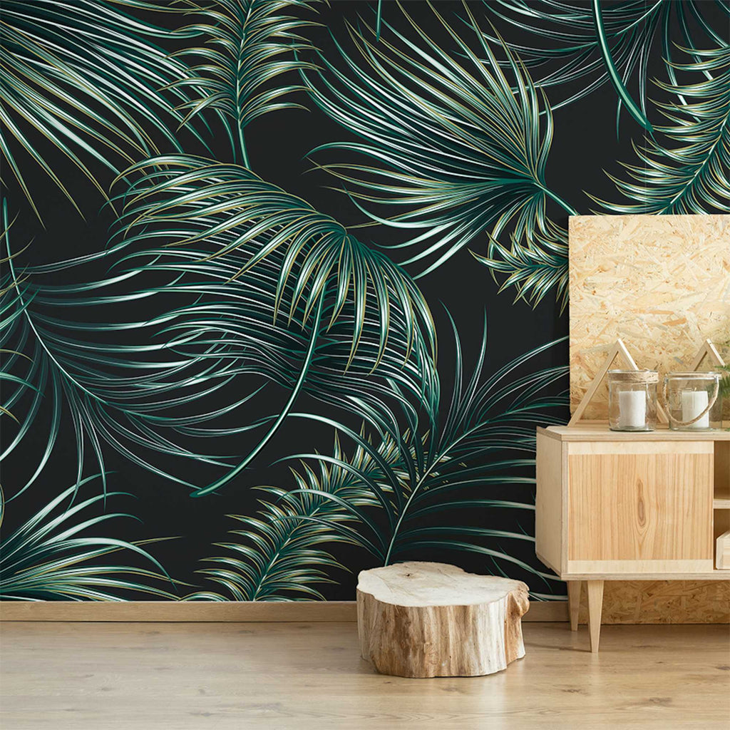 Areca Green tropical Palm leaf Wallpaper Mural from WallpaperMural.com