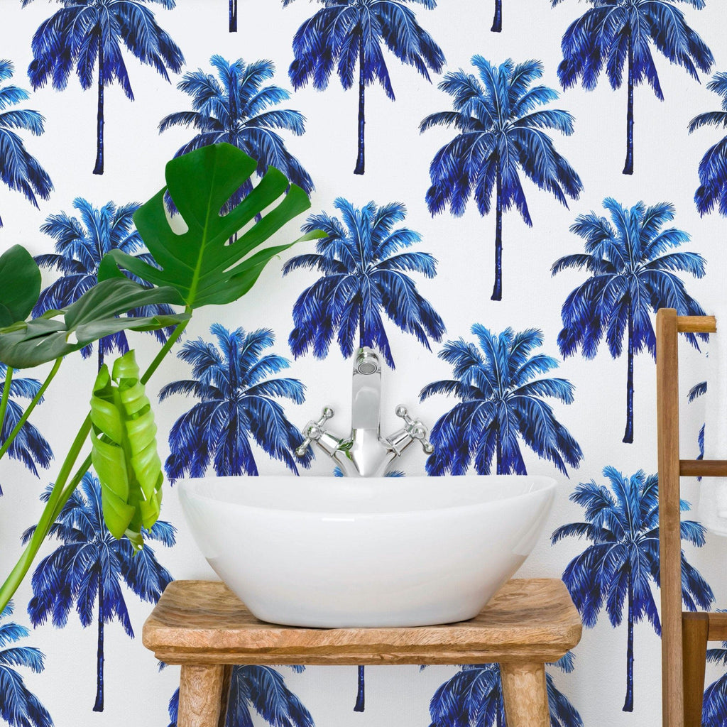 Blue Tropical Palm Trees | WallpaperMural.com
