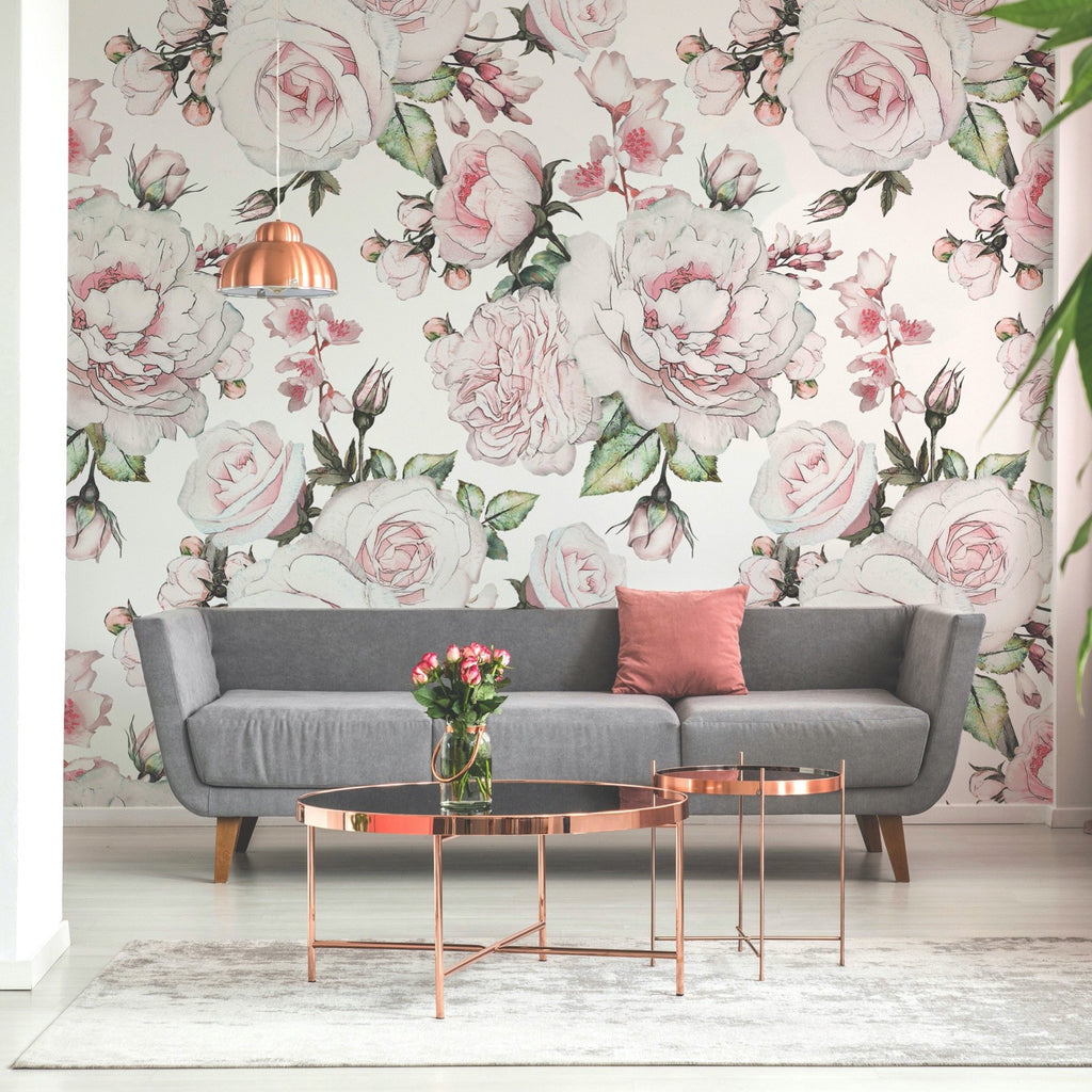 Bonica wallpaper mural with a settee and table in front | WallpaperMural.com