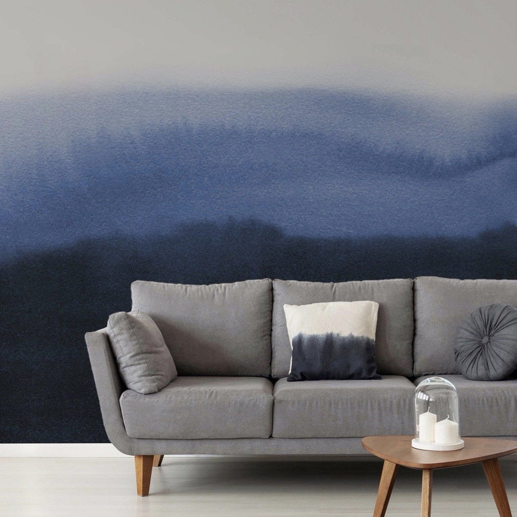 Cerulean Wallpaper Mural with a settee in front | WallpaperMural.com