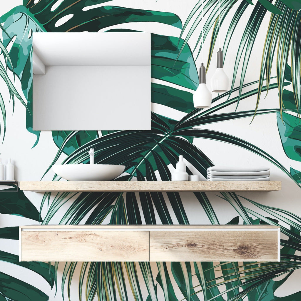 Copacabana Wallpaper Mural with a mirror and shelves attached | WallpaperMural.com
