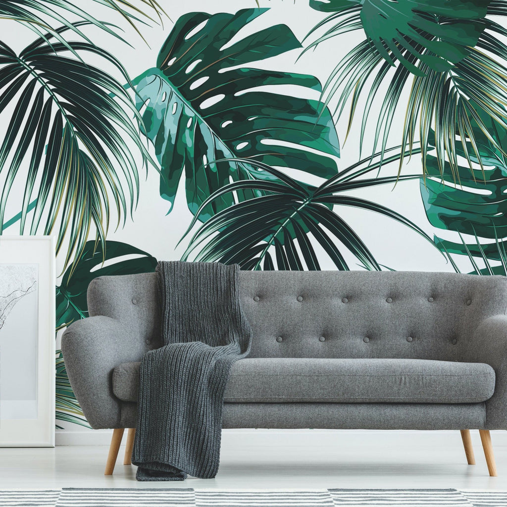 Copacabana Wallpaper Mural with a settee in front of it and a throw draped over | WallpaperMural.com
