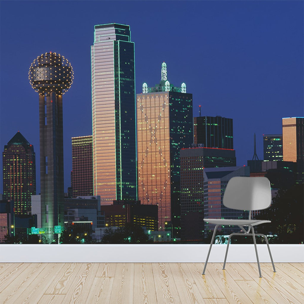 Dallas at sunset wallpaper mural with a office chair in front | WallpaperMural.com