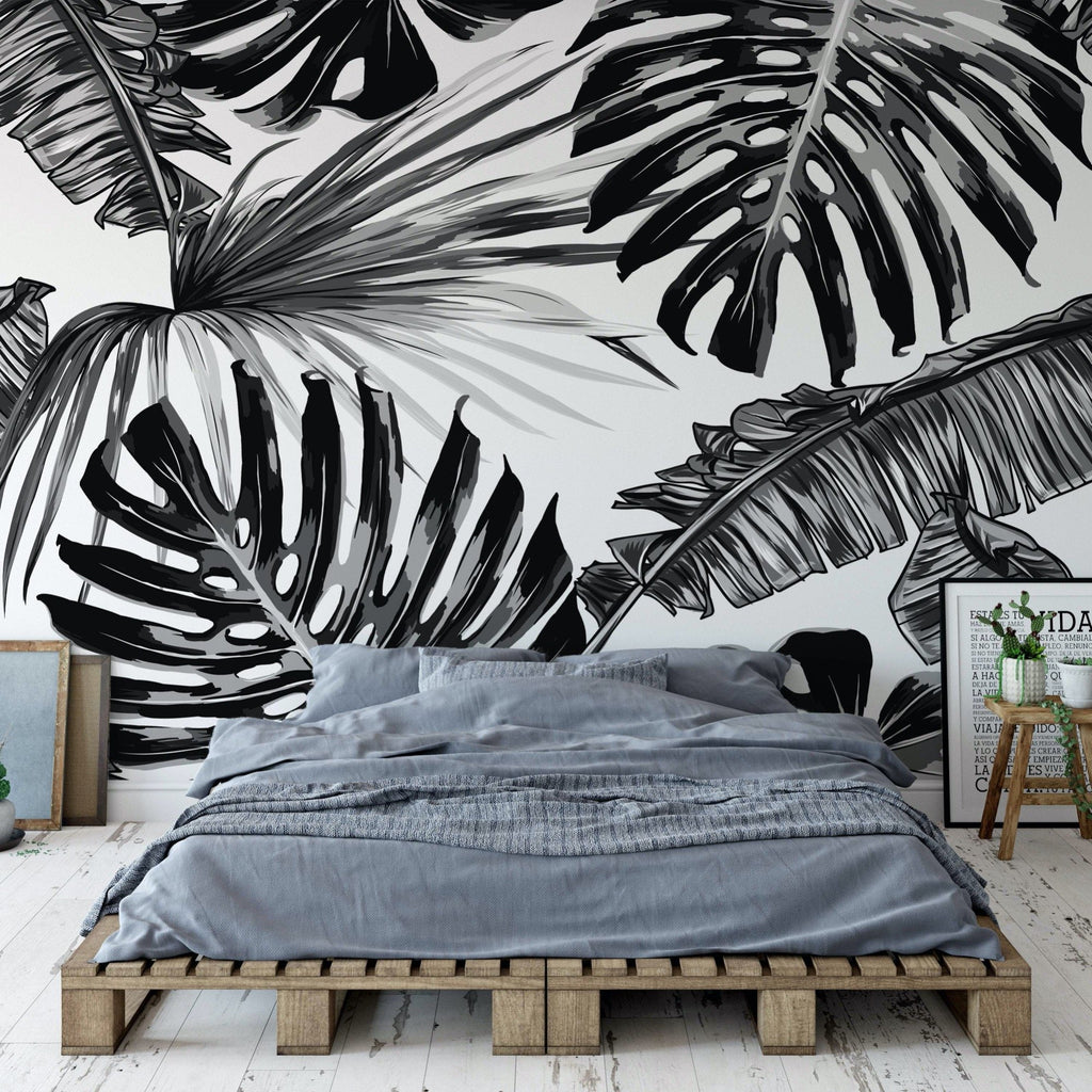 Ebony wallpaper mural in a modern bedroom scene | WallpaperMural.com