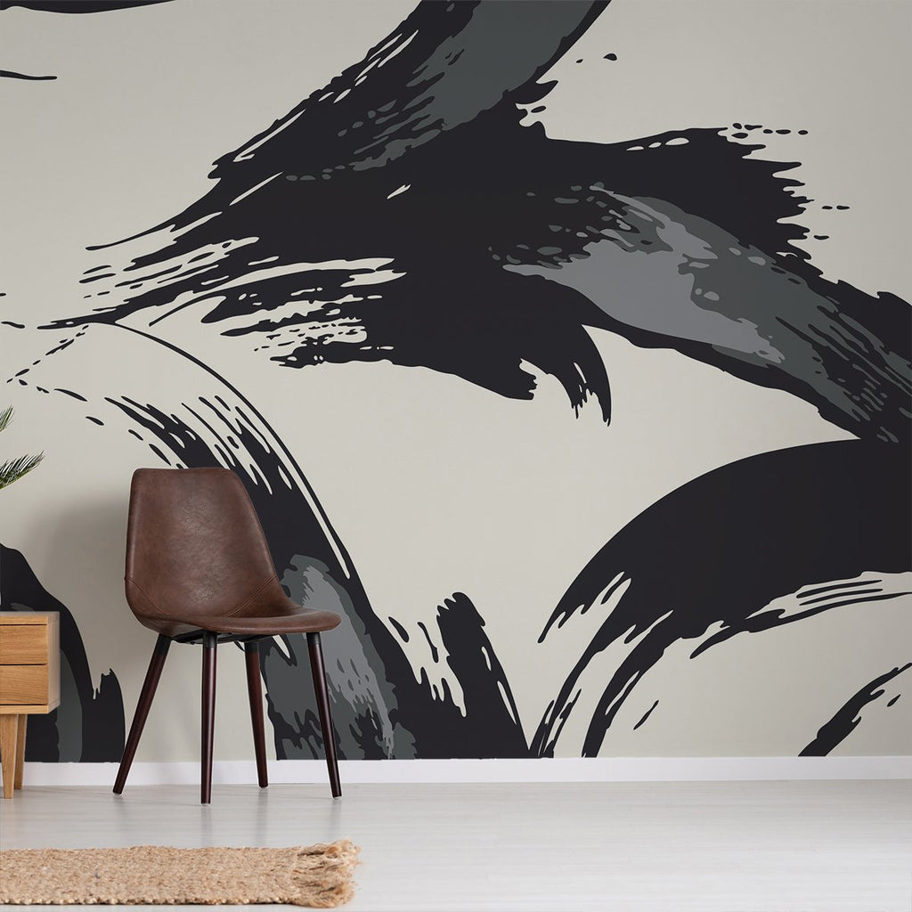 Gergo wallpaper mural with a brown office chair | WallpaperMural.com