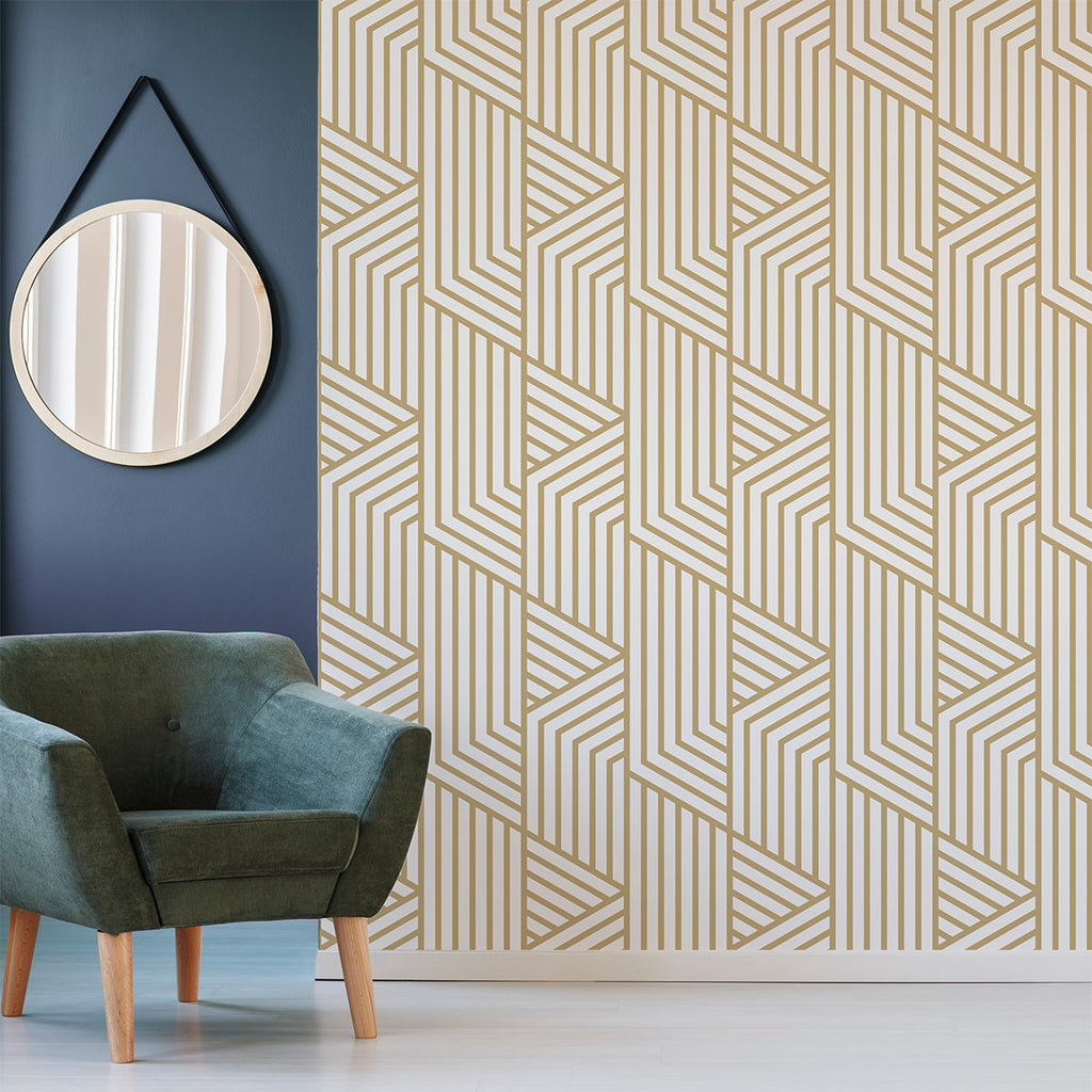 Gold Art Deco wallpaper mural with a comfy chair and picture on the wall | WallpaperMural.com