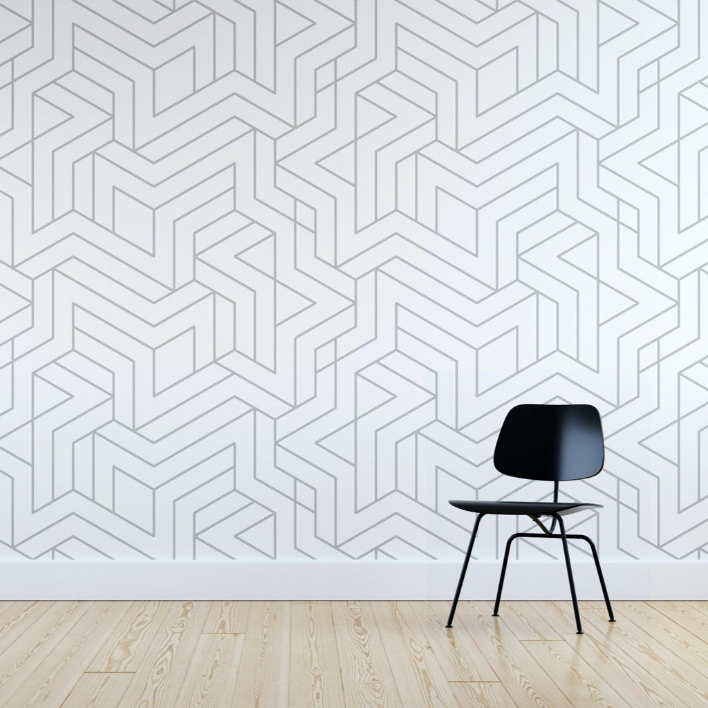 Gracin wallpaper mural with a Black chair in front | WallpaperMural.com