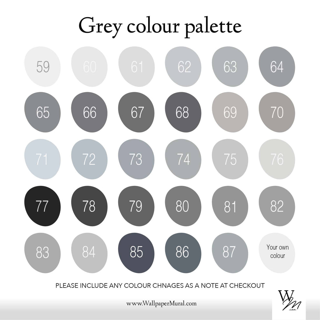 Grey colour palette | WallpaperMural.com