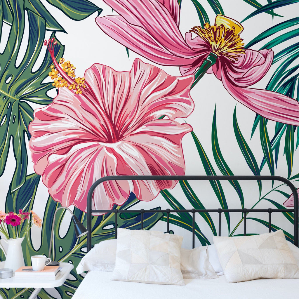 Hibiscus wallpaper mural in a bedroom setting | WallpaperMural.com