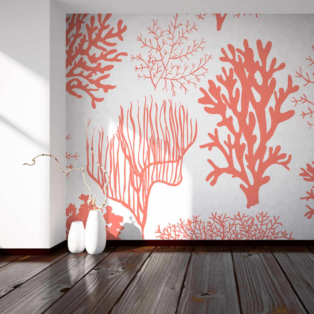 Jeren wallpaper mural in  hallway with White vases in front | WallpaperMural.com