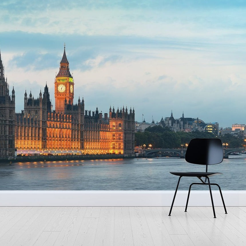 London Parliament Wallpaper Mural with a Black chair in front | WallpaperMural.com