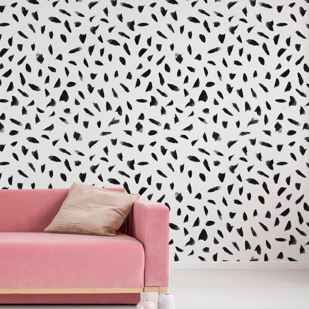 Mia wallpaper mural with a Pink sofa in front | WallpaperMural.com