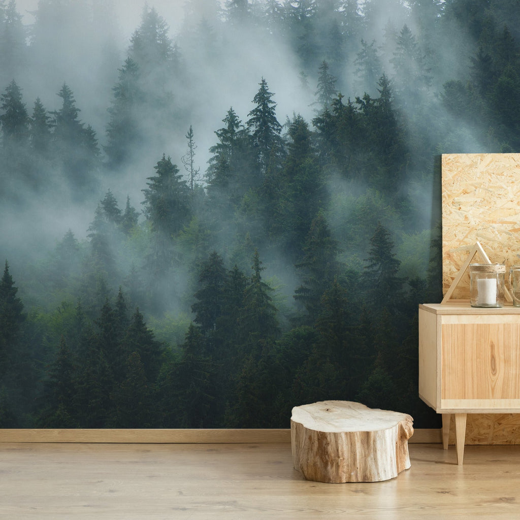 Mist wallpaper mural with a wooden sideboard in front | WallpaperMural.com