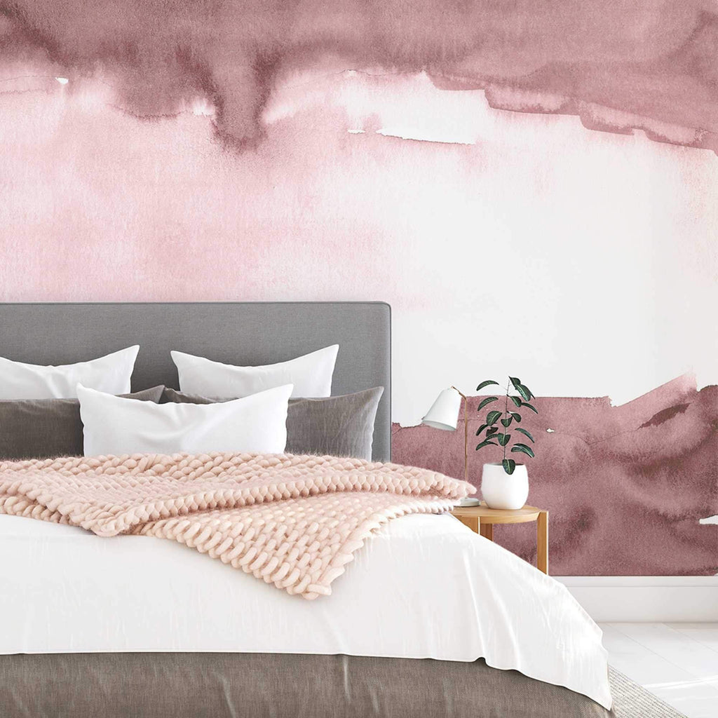New York Pink wallpaper mural in a bedroom setting | WallpaperMural.com