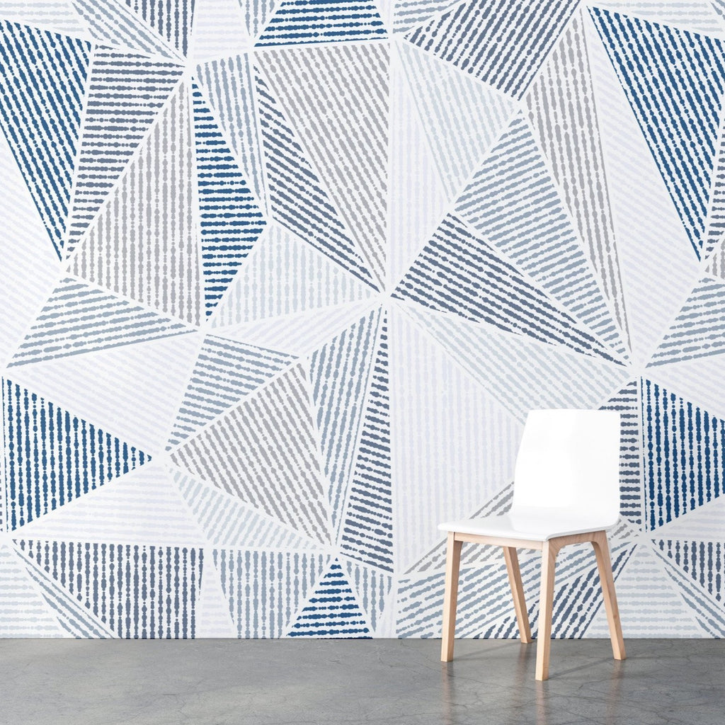 Okeley wallpaper mural with a White wooden chain in front | WallpaperMural.com