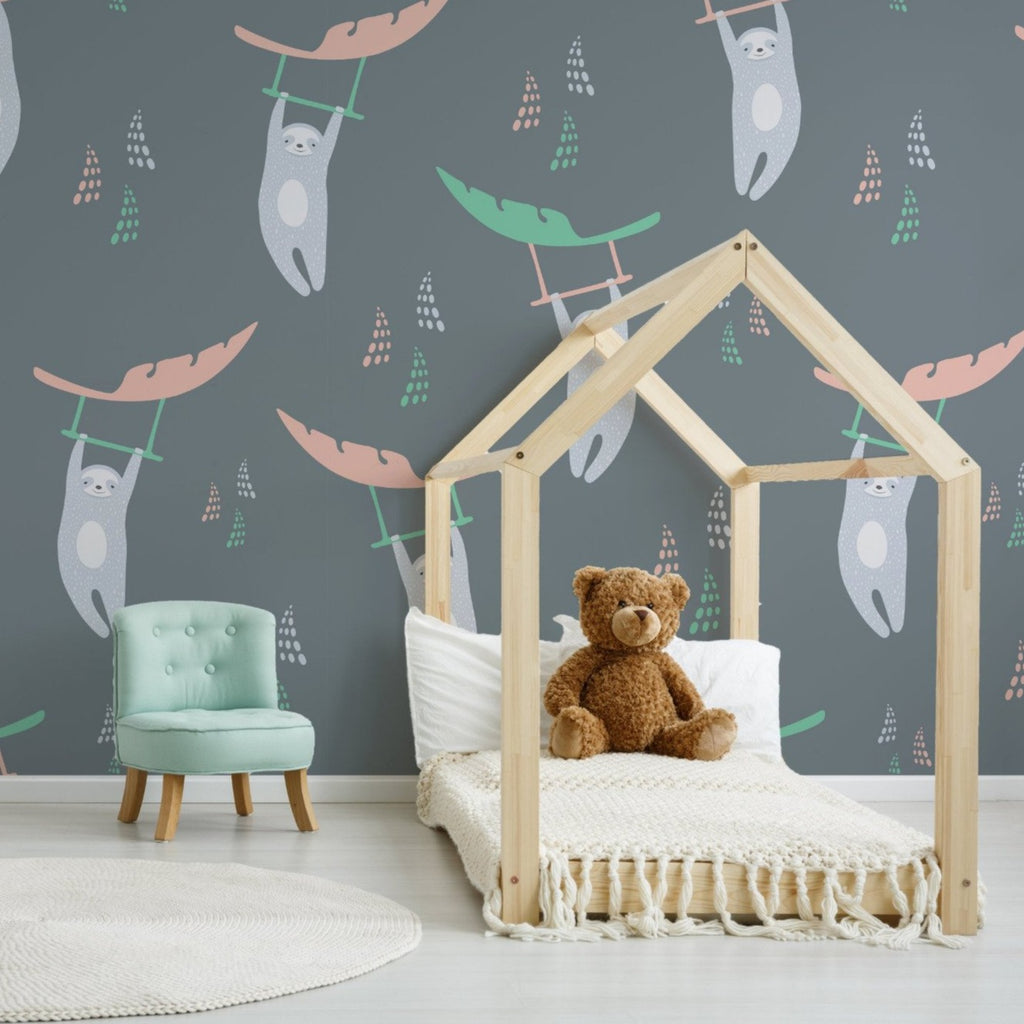 Oliver wallpaper mural with a child bed frame and a Green chair | WallpaperMural.com