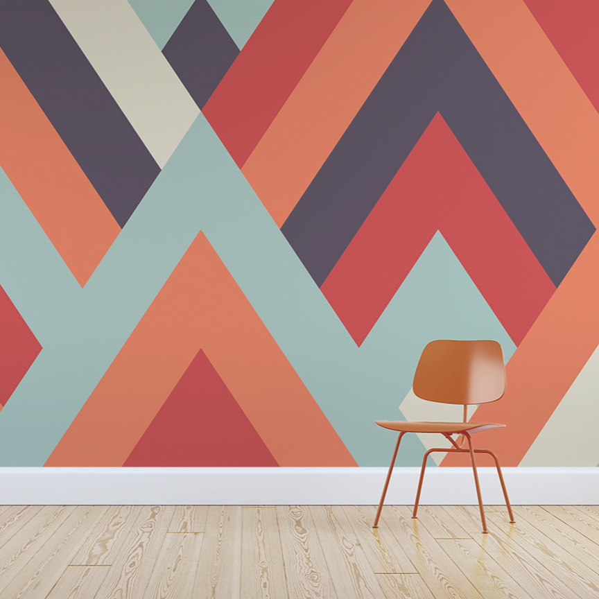 Poly wallpaper mural with a Orange chair in front | WallpaperMural.com