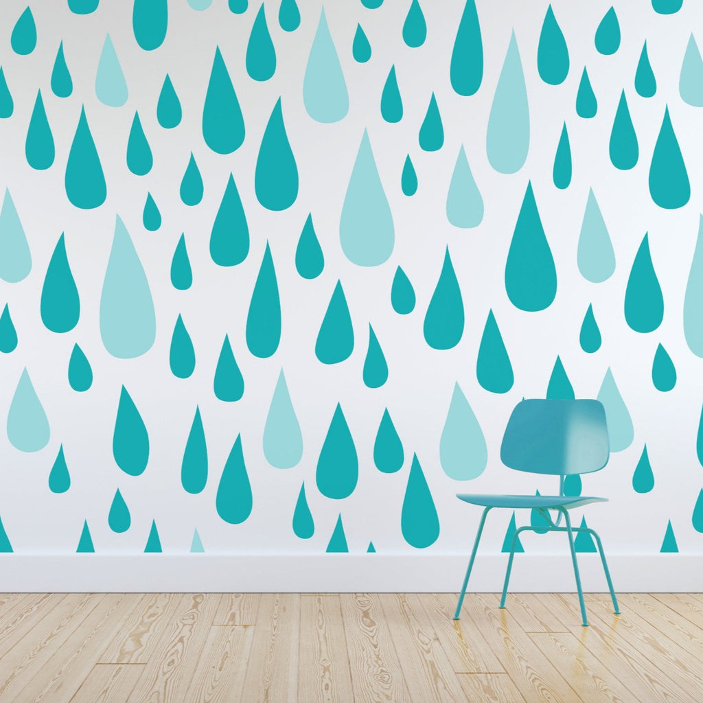 Rain Drops wallpaper mural with. green chair in front | WallpaperMural.com