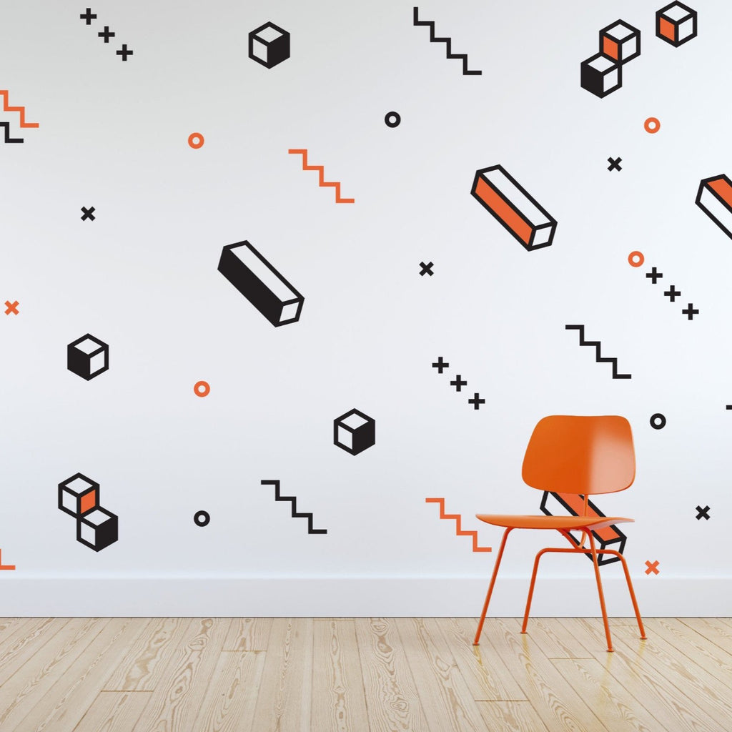 Rex wallpaper mural with a Orange chair in front | WallpaperMural.com