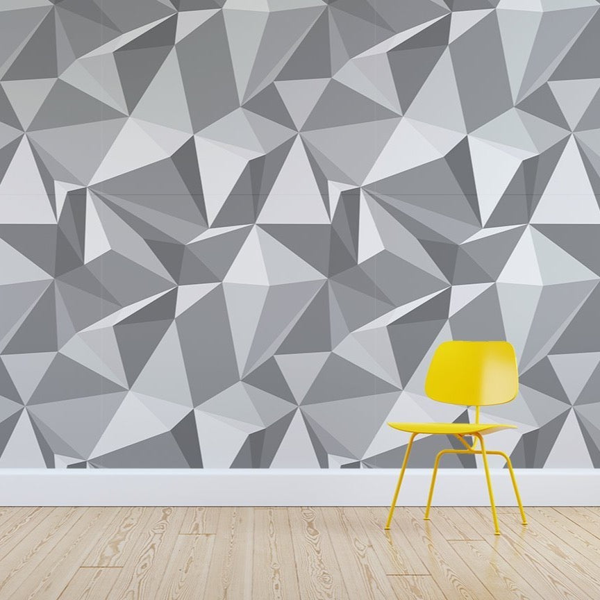 Rocky wallpaper mural with a Yellow chair in front | WallpaperMural.com