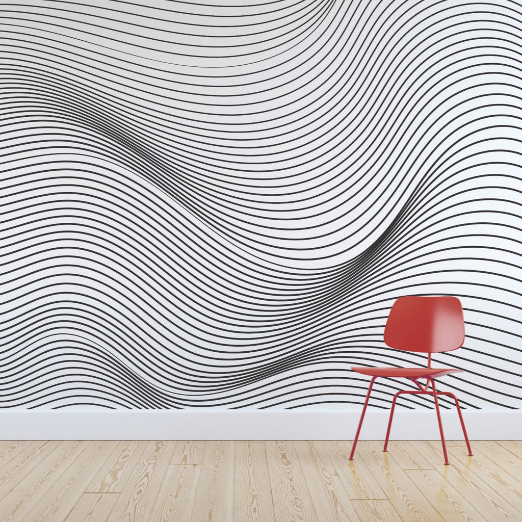 Roller wallpaper mural with a Red chair in front | WallpaperMural.com