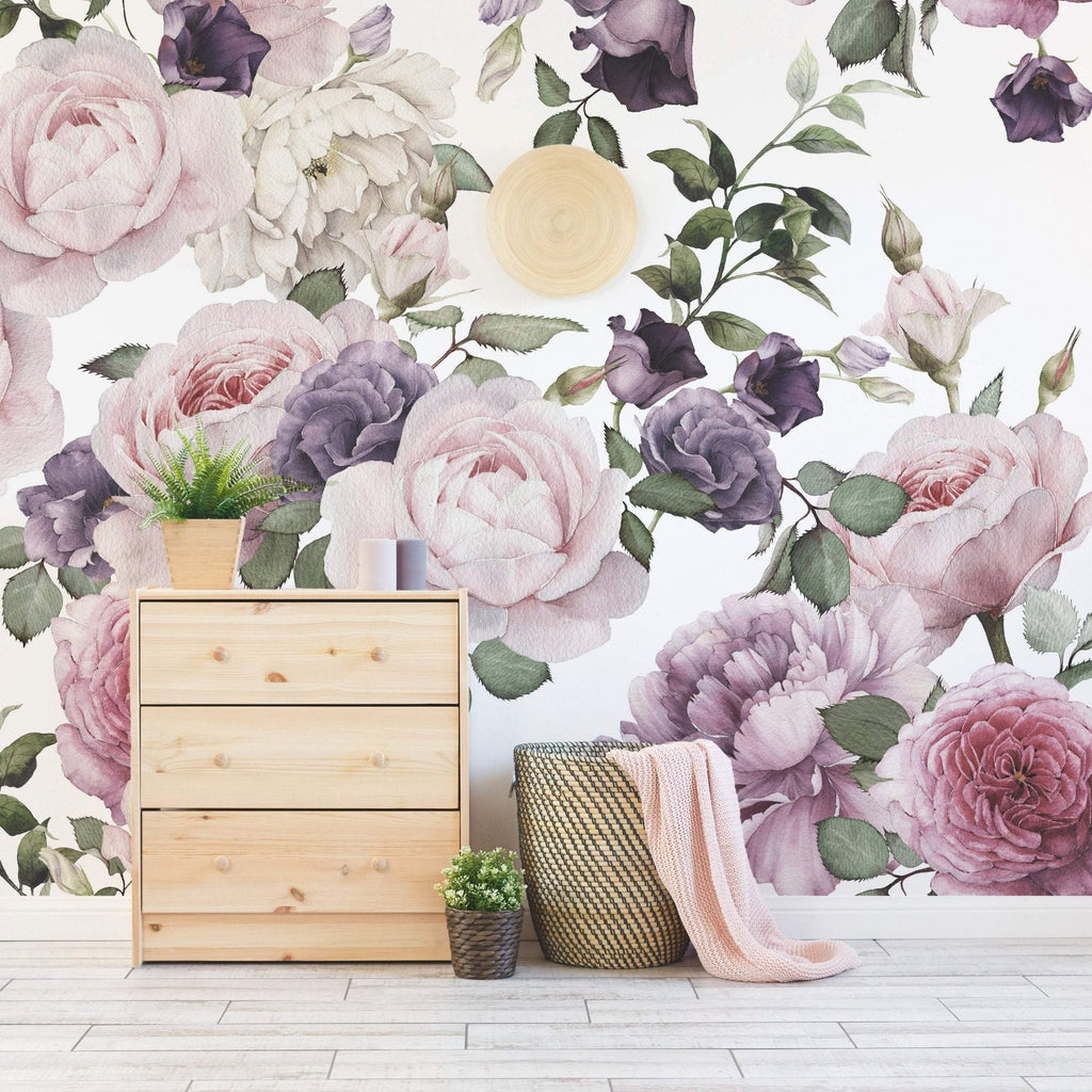 Rosie wallpaper mural with a chest of draws and a laundry basket in front | WallpaperMural.com