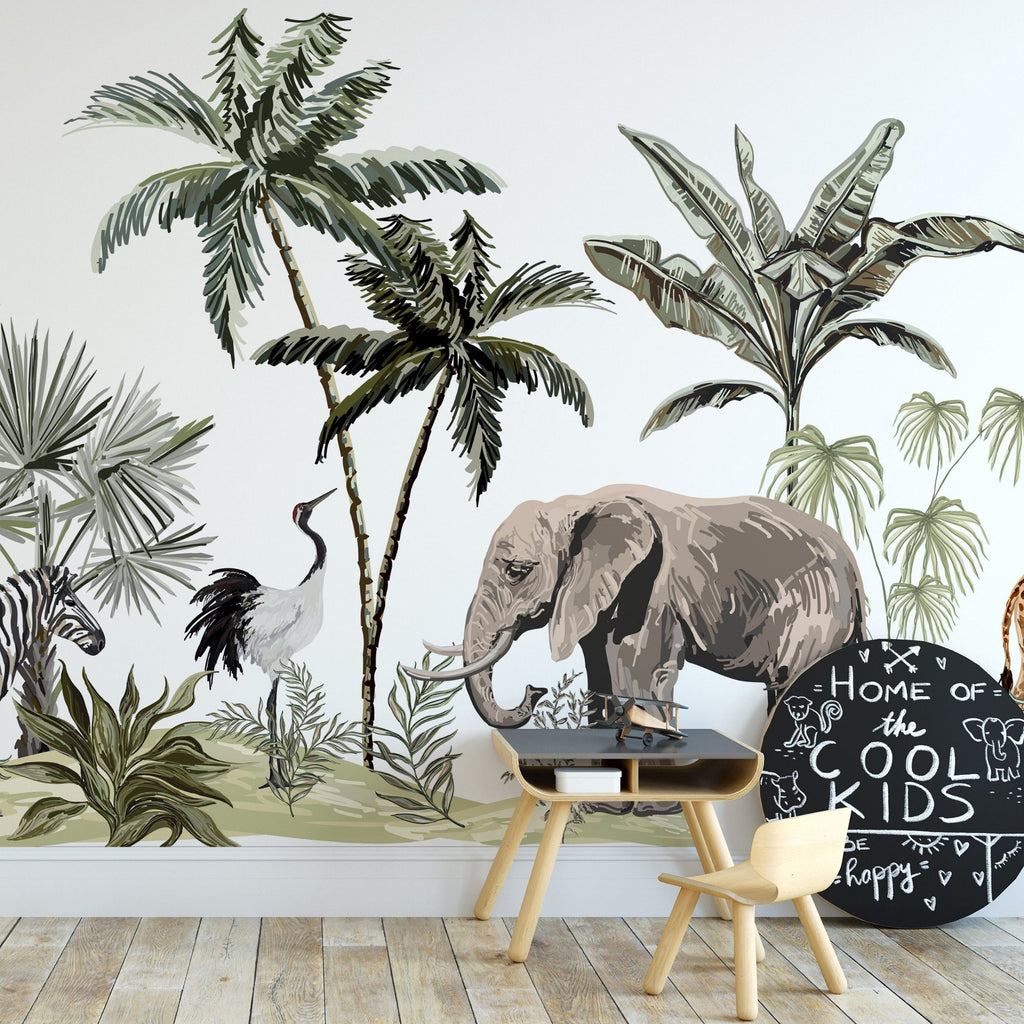 Safari wallpaper mural with a wooden table and chairs in front | WallpaperMural.com