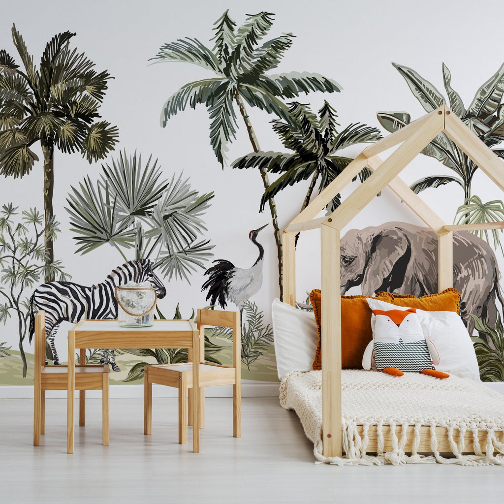 Safari wallpaper mural in a bed made out of a wooden frame | WallpaperMural.com