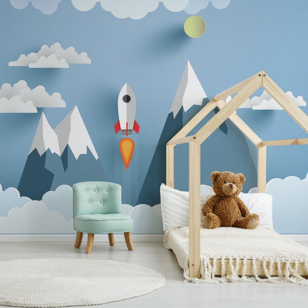 Skyrocket wallpaper mural with a Childs bed and Green chair | WallpaperMural.com
