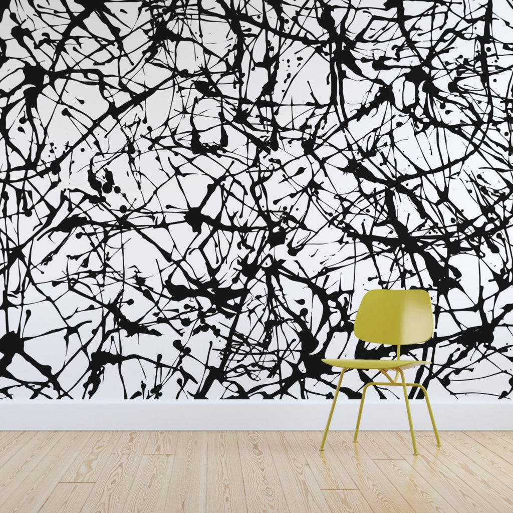 Speckle wallpaper mural with a Yellow chair in front | WallpaperMural.com
