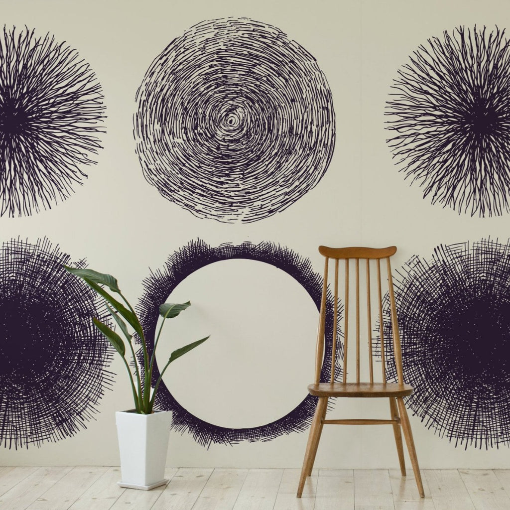 Sphere wallpaper mural with a plant and tall wooden chair | WallpaperMural.com
