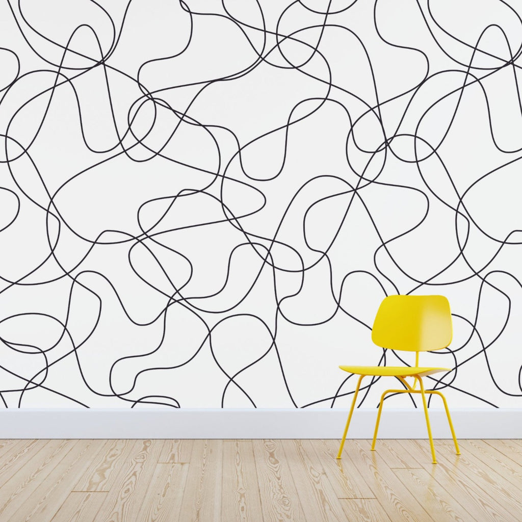 Squiggles wallpaper mural with a Yellow chair | WallpaperMural.com