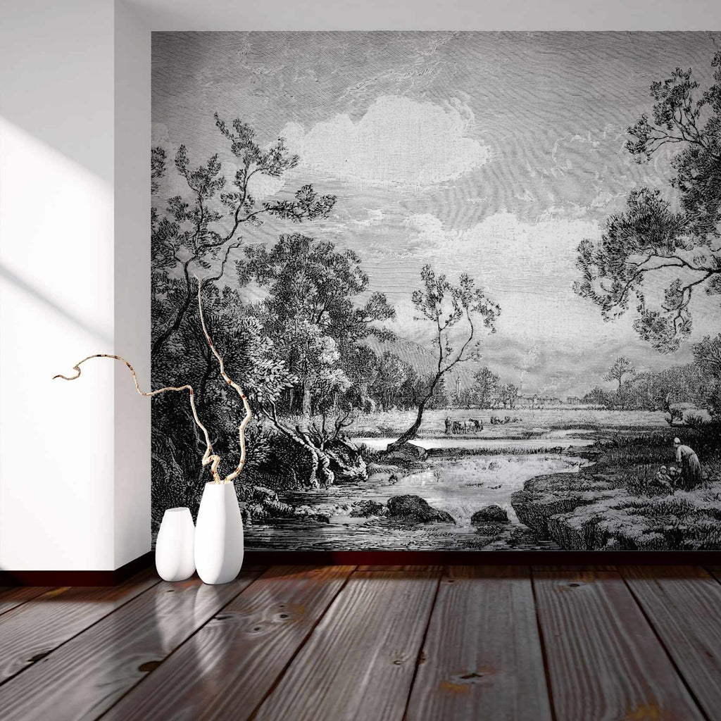 Tanetrict Black and White etched wallpaper mural set in a White hallway | WallpaperMural.com