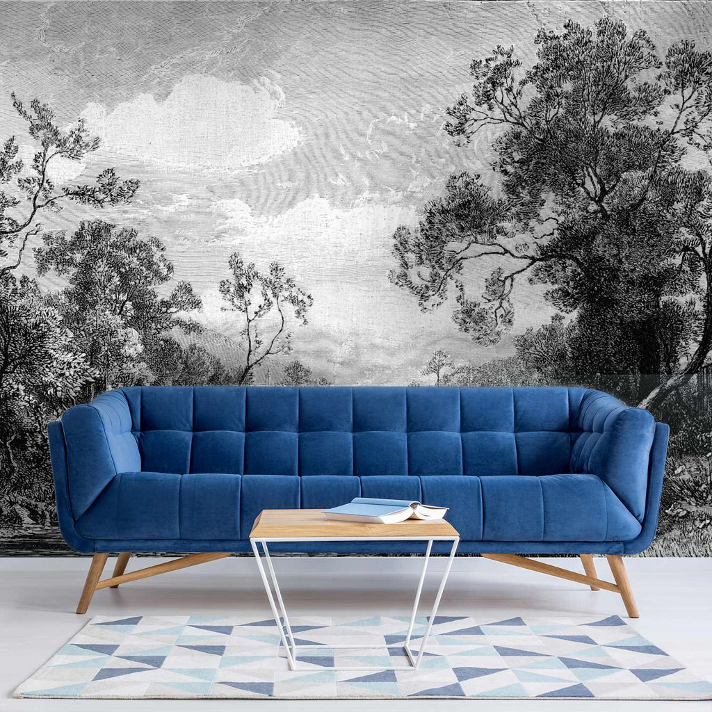 Tanetrict Black and White etched wallpaper mural with a nice Blue settee in front | WallpaperMural.com