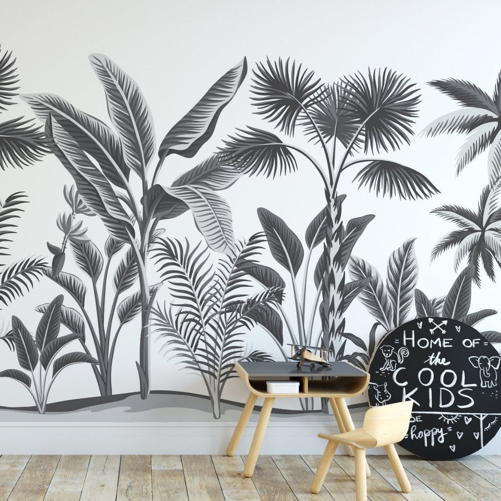Tropical forest wallpaper mural in a Childs bedroom | WallpaperMural.com